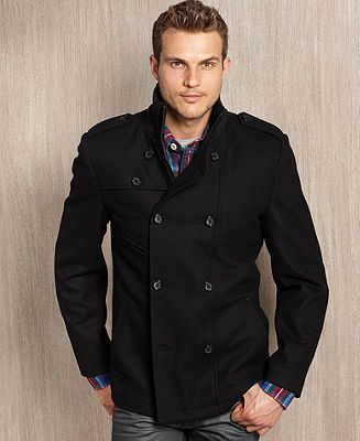 Guess Coat Wool Blend Double Breasted Modern Pea Coat
