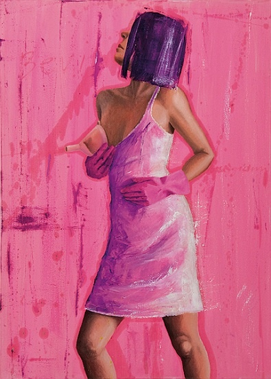Vania Elettra Tam - pink painter three  2010  70x50 cm - 27.6x19.7 in  mixed media on canvas