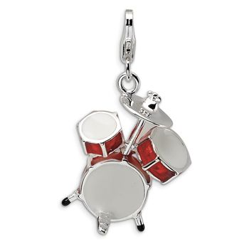 925 Sterling Silver 3D Red Enameled 4 Piece Drum Set Dangle Charm | Body Candy Body Jewelry