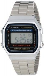 This classic Casio watch design never times out of fashion. Made with a stainless steel case, bezel and matching link bracelet, the Electro Luminescence features a digital display with EL Backlight and a convenient day-and-date calendar.