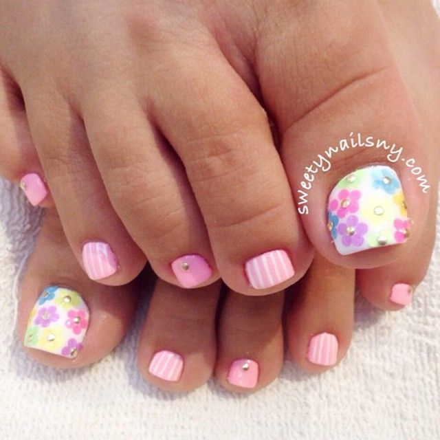 Pretty spring pedi by Toe nail art - 50 Best Spring Toe Nail Art Designs Images On Pinterest Toe Nail
