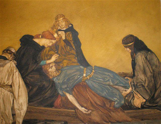 """Sir William Russell Flint (1880-1969), The Passing of Arthur, Illustration pour """"Le Morte d'Arthur"""" de Thomas Malory."""