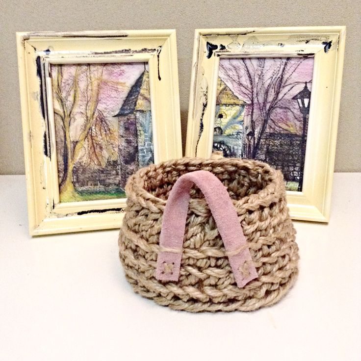 Totally cute jute crochet basket with leather handle!