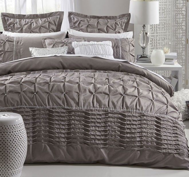 Francesca Quilt Cover Set Range Taupe - Quilt Covers - Bed