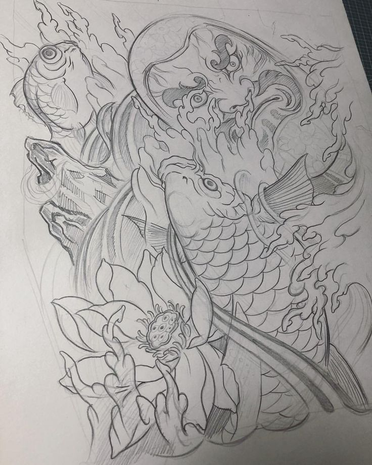 Sketch For A Japanese Sleeve: Draw.. . . #japanese #newschooljapanese #irezumitattoo