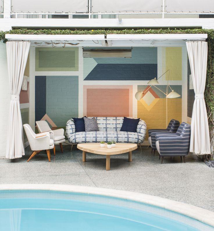 Kelly wearstler interiors outdoor cabana viviane restaurant at the avalon hotel beverly hills