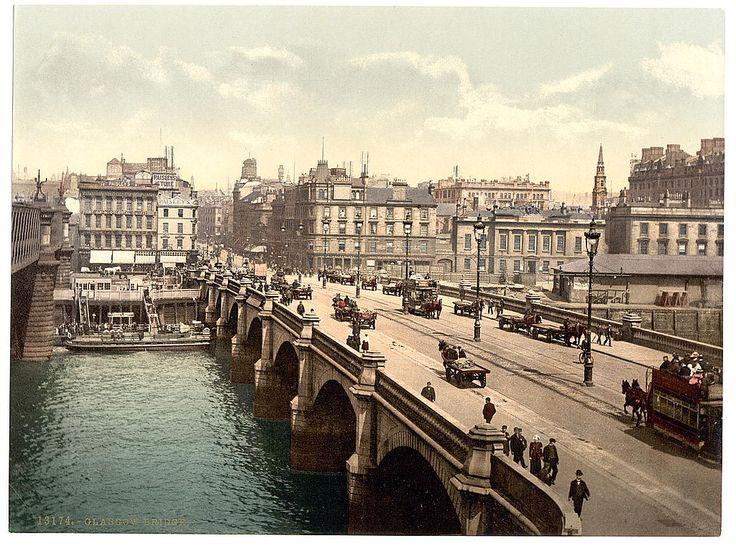 Scotland, Lanarkshire, Glasgow Bridge. I love hand coloured photos