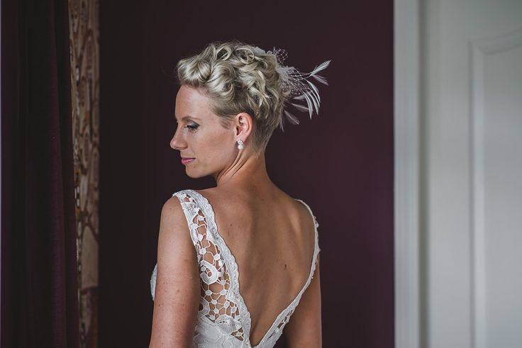 Absolutely loved the lace details on the back. Thrilled with how my short pixie turned out for the wedding. Fascinator was the perfect accent.