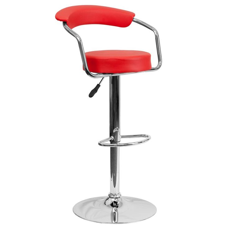 Adjustable Height Red Cushioned Bar Stool
