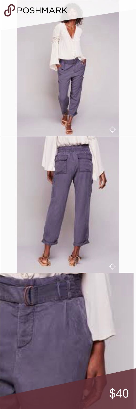 "Free people Belted Crop Cargo Pants💜💜 Light weight trendy cropped cargo pants. Lovely deep purple. Super light weight and soft!  Dress up or down! 100% Rayon. Inseam Flat approximately 27"" Hips 37"" As always make an offer, the least I can do is counter 😉💖. New in package! Free People Pants Ankle & Cropped"