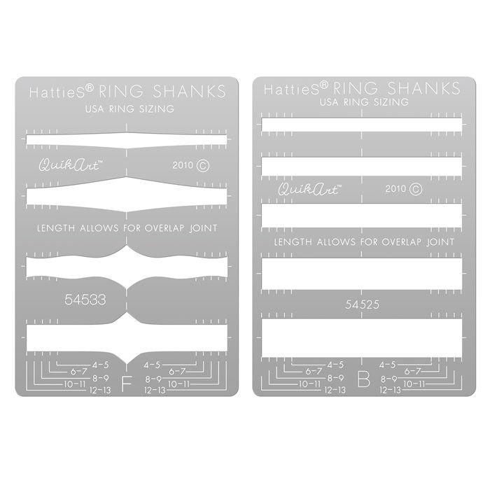 HattieS QuikArt Metal Clay Template Set, Ring Shanks, Set A