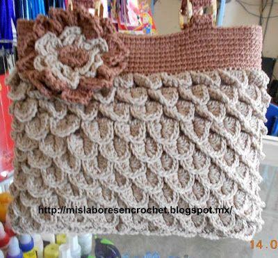 Mis labores en Crochet: Bolsa de hilaza punto escamas de cocodrilo
