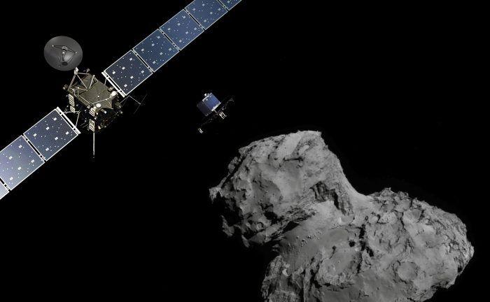 Rosetta mission poster showing the deployment of the Philae lander to comet 67P/Churyumov-Gerasimenko. Credit: ESA/ATG medialab (Rosetta/Philae); ESA/Rosetta/NavCam