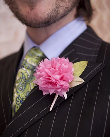 A tissue paper bloom from the Martha Stewart Tissue Paper Bouquet kit as a bright boutonniere