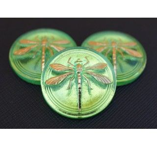 Czech Glass Button Green, Gold Dragonfly (smooth reverse side) size 14