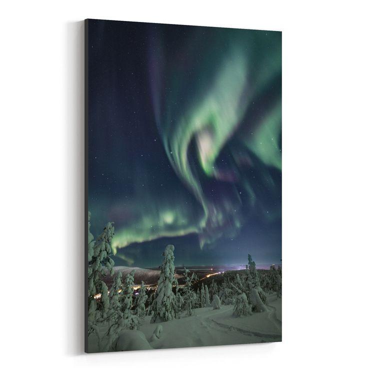 Noir Gallery Northern Lights Lapland Finland Canvas Wall Art Print (20 x 24)
