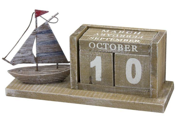 Kalender hout zeilboot