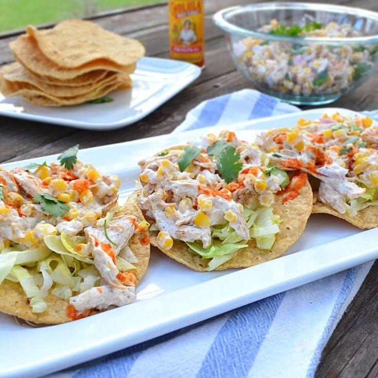 Grilled Chicken and Corn Salad Tostadas Recipe by freshandfit on #kitchenbowl