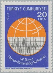 Sello: Seismograph (Turquía) (7th World Conference on Earthquake Engineering, Istanbul.) Mi:TR 2521,Sn:TR 2150