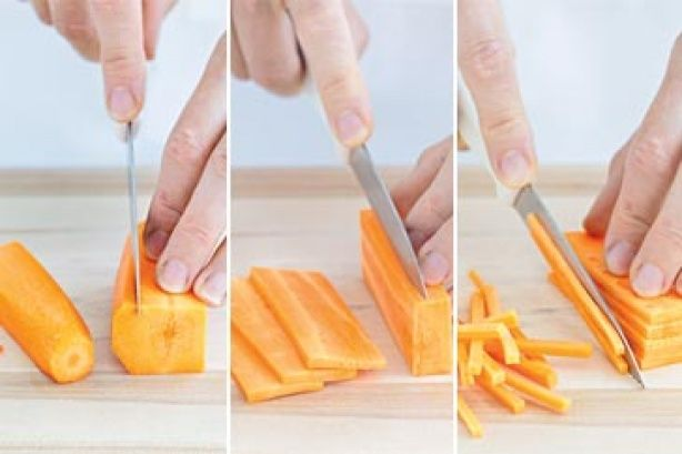 In traditional French cuisine, matchsticks cut from vegetables such as carrots are known as julienne. Here's a quick and easy way to julienne a carrot.