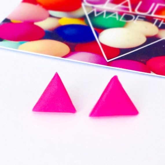 Neon Pink Triangle Earrings Fluorescent Pink by ClaudiaMadeThis