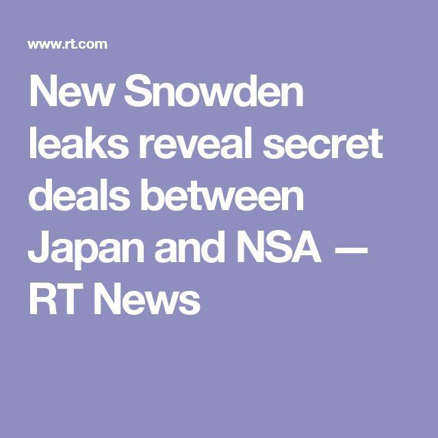 New Snowden leaks reveal secret deals between Japan and NSA — RT News