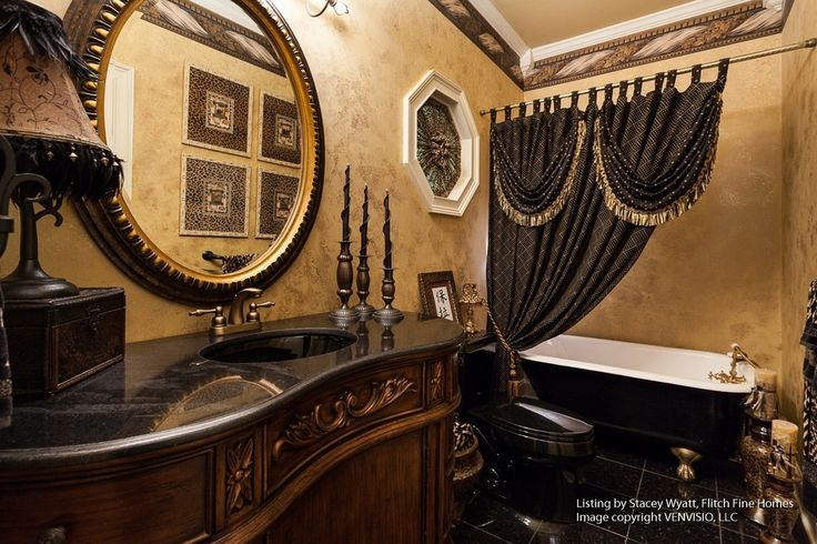 Tuscan Bathroom With Great Shower Curtain