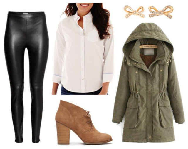 Easy Outfit Formulas: Faux Leather Leggings   White Oxford Shirt - College Fashion