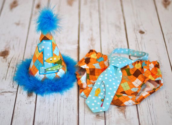 Gone Fishing Cake Smash Outfit - Little Guy Tie, Diaper Cover, Hat - Fishing Rod Pole Argyle Orange, Aqua Birthday Party Cake Smash Outfit