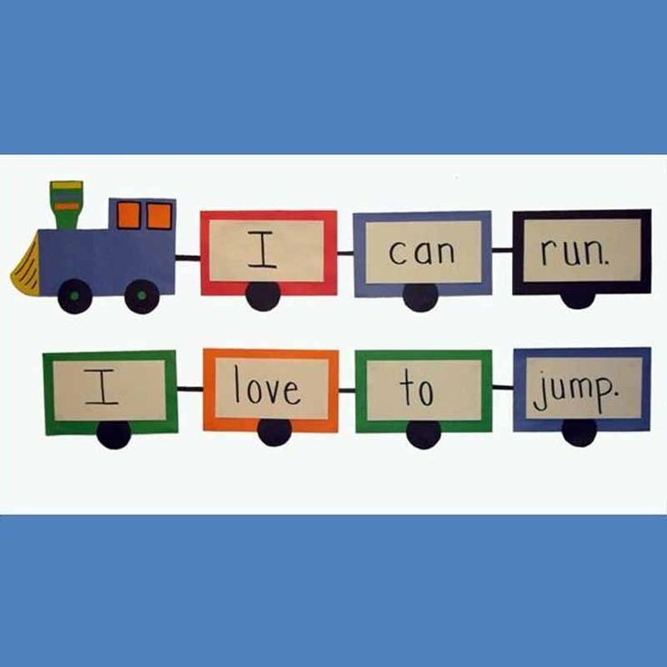 INSTRUCTION: A very clear visual to show students spaces between words, the directionality of print, and punctuation. Your class can form their own sentence trains together and practice reading them, pointing out the concepts of print.