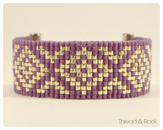 Single wrap bracelet featuring Miyuki delica beads, hand-woven using a bead loom. MATERIALS - Miyuki duracoat delica beads in Opaque Dark Orchid
