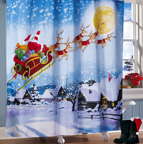 Santa Flight Waterproof Shower Curtain Bathroom Christmas Decor with 12 Hooks #Unbranded