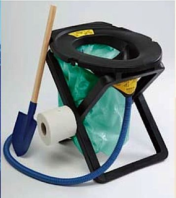 """""""The Rescue Kit"""" : A folding urine-diverting toilet stool for portable and temporary sanitation needs. from ecovita"""