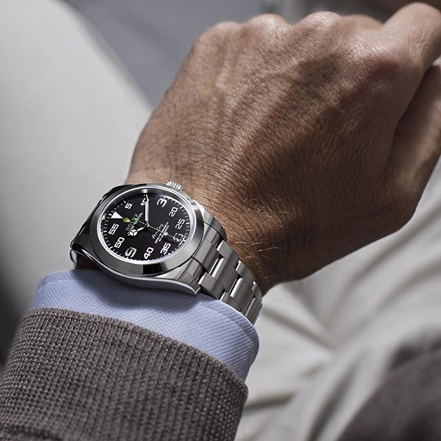 WEBSTA @ rolex - The new Rolex Air-King worn by Andy Green – the first and only person to drive at supersonic speed.  #Rolex #AirKing #101031
