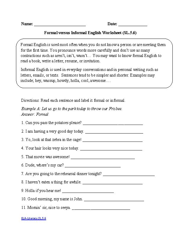 English Worksheets 5th Grade Common Core Aligned
