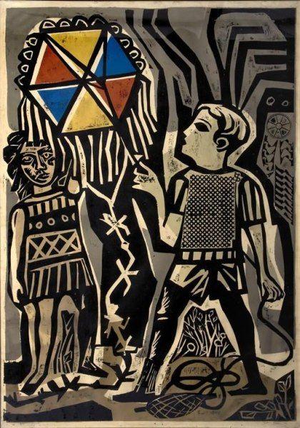 Antonio Berni, Juanito remontando un barrilete, 1962, xilografía sobre papel 150 x 105 cm