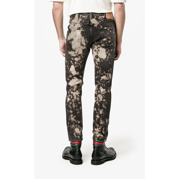 Gucci Acid-Washed Slim-Fit Jeans (€660) ❤ liked on Polyvore featuring men's fashion, men's clothing, men's jeans, gucci mens jeans, mens slim jeans, mens slim cut jeans, mens acid wash jeans and mens denim jeans