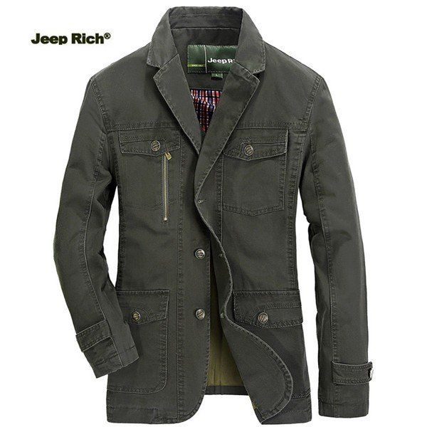 Jeep Rich Plus Size Mens Outdoor Jacket Solid Color Casual Business Cotton Coat