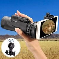 Wish | 12X50 / 10X40 Hiking Concert Camera Lens Telescope Monocular Dual Focusing Knot Spiral Eyepiece with Holder Gift For Smartphone Photography Notebook PC (Size: 12x50, Color: Black)