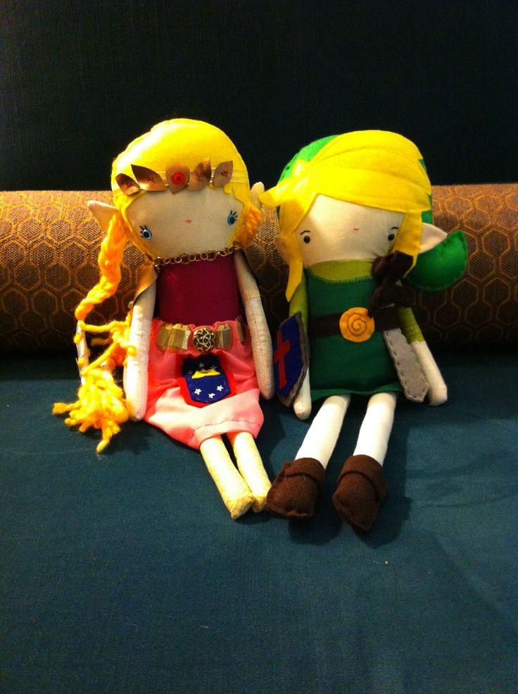 Link and Zelda ooak handmade dolls by emmasdollparty