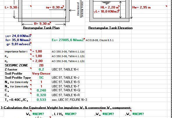 Seismic Loads For Liquid Containing Rectangular Rc Tank Spreadsheet Rc Tank Seismic Spreadsheet