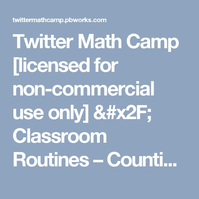 Twitter Math Camp [licensed for non-commercial use only] / Classroom Routines – Counting Circle – Sadie Estrella