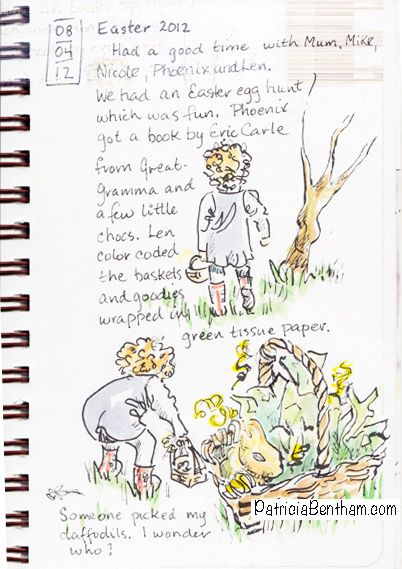 Easter sketch by Patricia Bentham, Toddler hunting for Easter eggs.