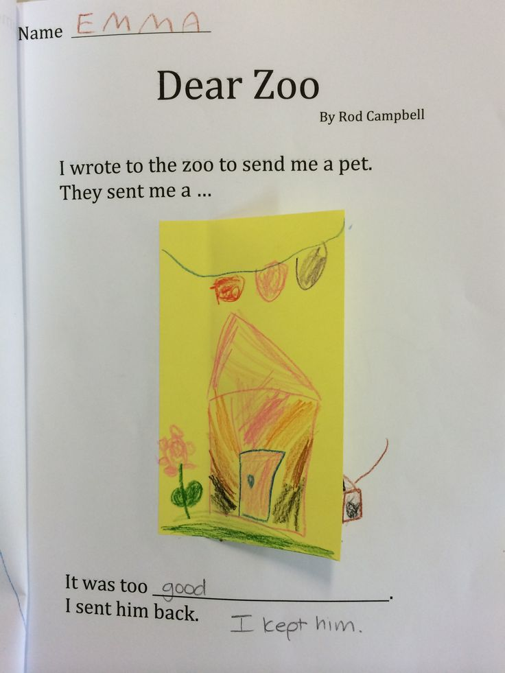 'Dear Zoo' example page from classroom book