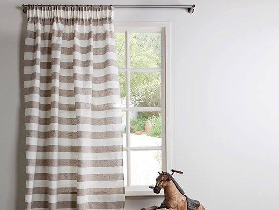 Horizontal Striped linen curtains in taupe and white color with grommets . Cover your window with this fresh panel and give in your room a relaxing and calming sensation. Contemporary elegant and sophisticated horizontal stripes in modern colors. This curtain combines a natures feeling with a modern setting. This curtain is a nice choice for a home with modern and elegant furnishing. Fits perfectly with modern and rustic style.  **THIS ITEM IS HAND MADE AND MADE TO ORDER - I MAKE TO YOUR…