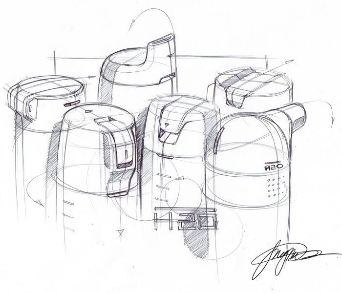 Water bottle tops sketch
