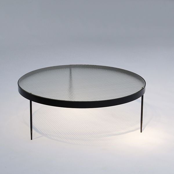 Janni van Pelt; #G4 Painted Metal and Reinforced Glass Coffee Table by Bas van pelt, 1958.