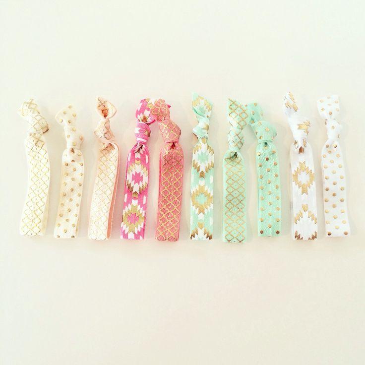 Southwest Boho Hair Tie Set | Mint, White, Coral, Ivory, Peach + Gold Creaseless Elastic Hair Ties, Tribal Aztec Boho Hair Tie Bracelets by LoveMiaCo on Etsy https://www.etsy.com/listing/247984276/southwest-boho-hair-tie-set-mint-white