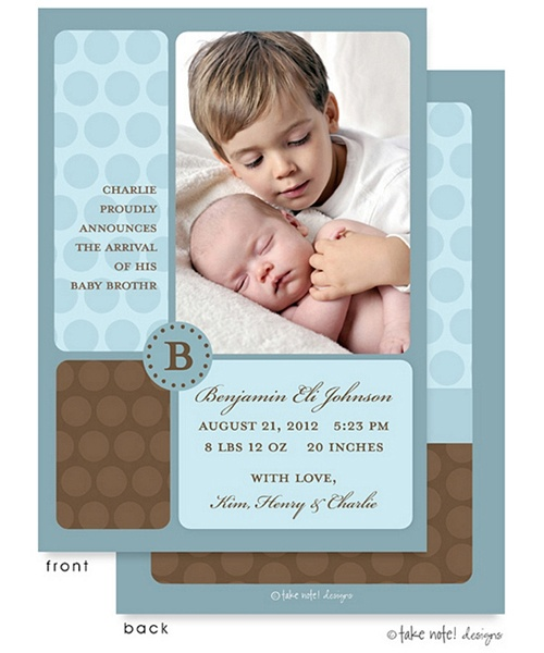 Sibling birth announcement