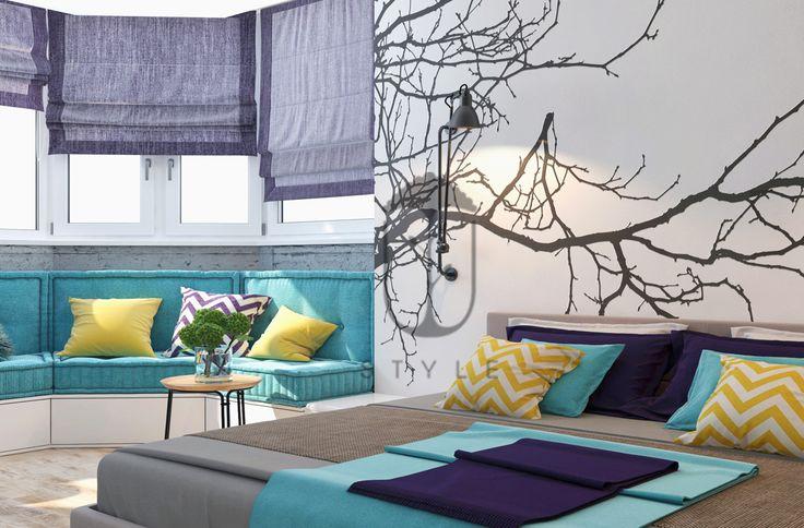 Спальня с анкерным панорамным окном. Сочная гамма текстиля. Солнечная, светлая, уютная. Выполнена в смешанном стиле.